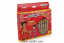 Cello Chhotta Bheem Felt Brush Pen with Flexible Tip - Pack of 12 (Multicolor)