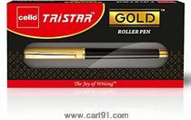 Cello Tristar Gold Roller Pen (Multicolor)