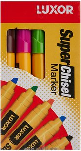 Luxor Chisel Markers Assorted - Pack of 10