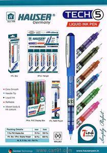 Hauser Tech-5 Liquid Ink Pen Pack Of Blue 2 Black 2